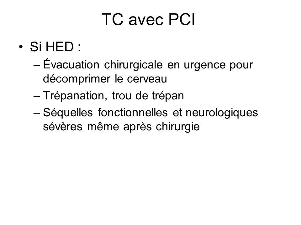 TC avec PCI Si HED : Évacuation chirurgicale en urgence pour décomprimer le cerveau. Trépanation, trou de trépan.