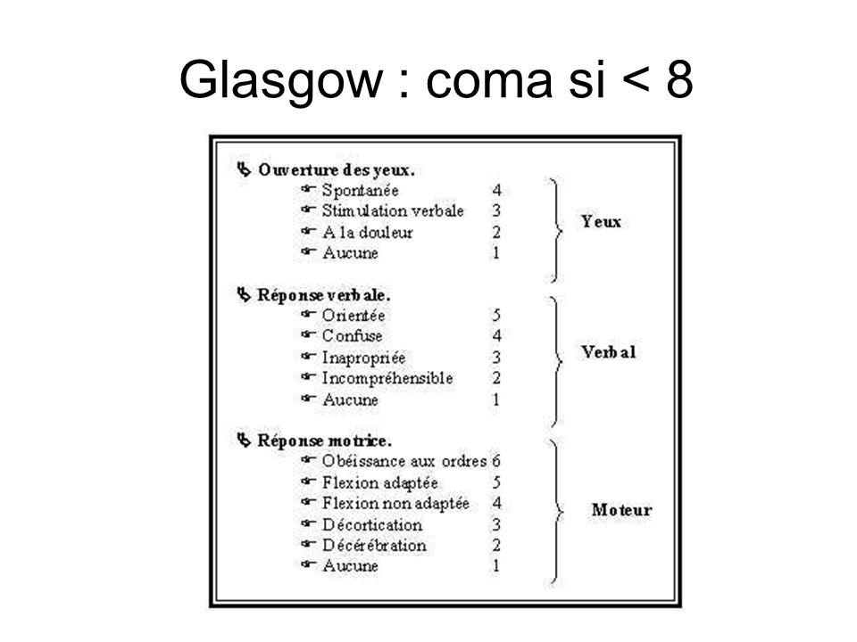 Glasgow : coma si < 8