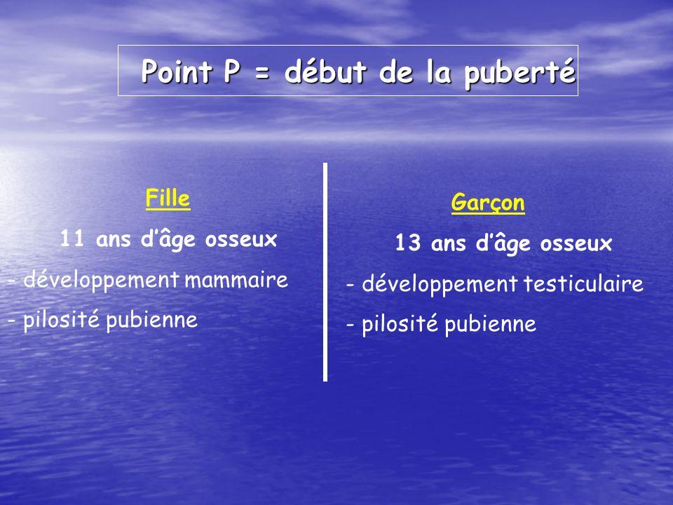 Point P = début de la puberté