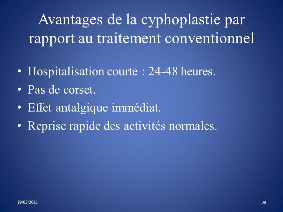 Avantages de la cyphoplastie par rapport au traitement conventionnel