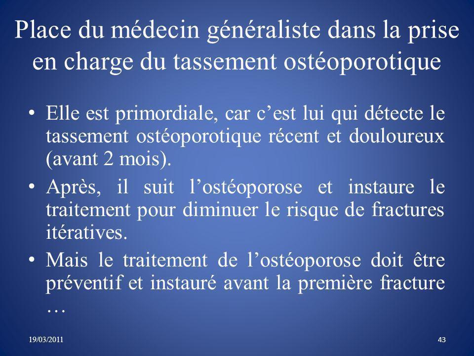 Place du médecin généraliste dans la prise en charge du tassement ostéoporotique