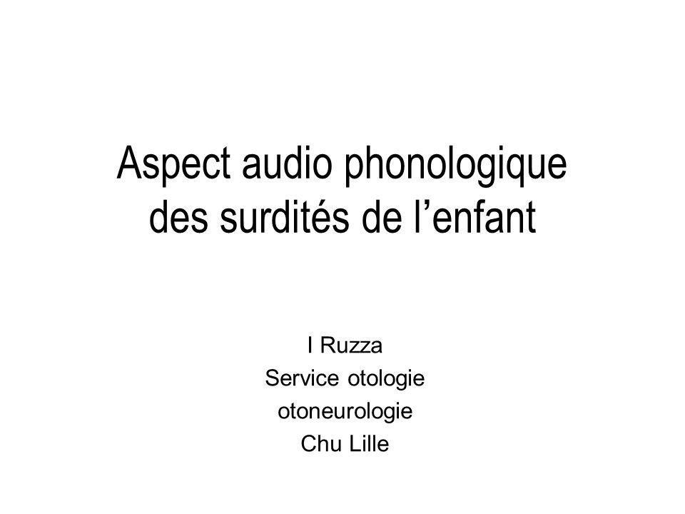 Aspect audio phonologique des surdités de l'enfant