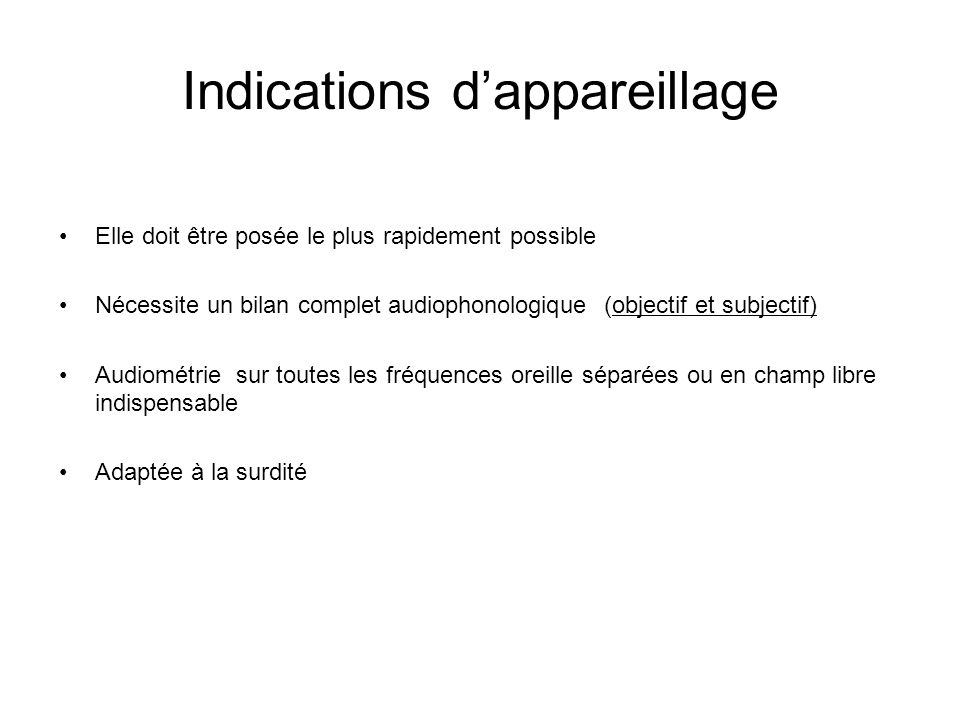 Indications d'appareillage