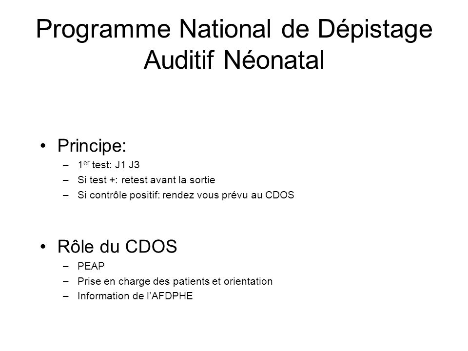 Programme National de Dépistage Auditif Néonatal