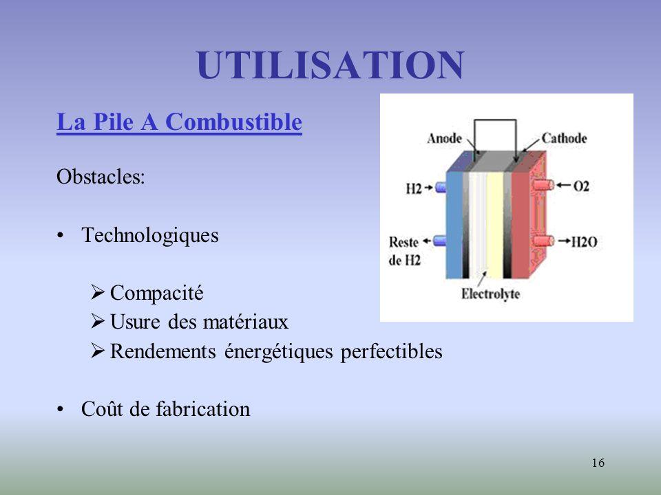 UTILISATION La Pile A Combustible Obstacles: Technologiques Compacité