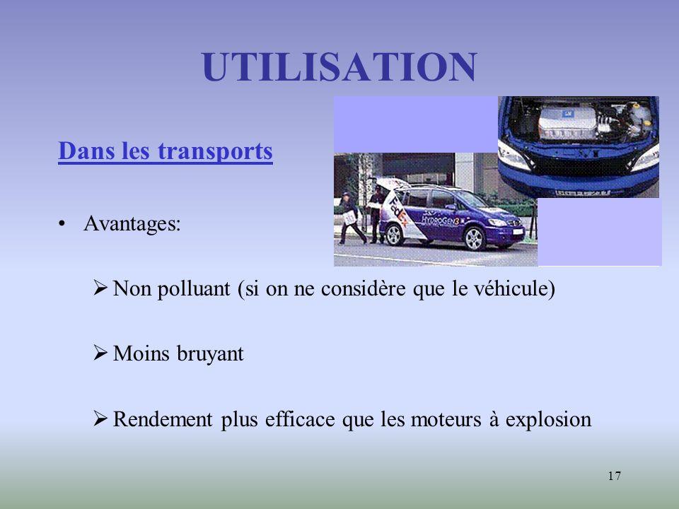 UTILISATION Dans les transports Avantages: