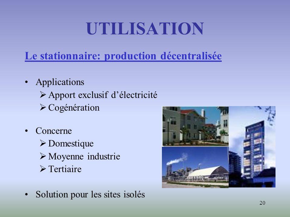 UTILISATION Le stationnaire: production décentralisée Applications