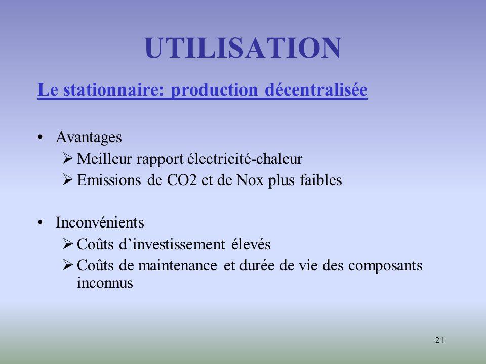 UTILISATION Le stationnaire: production décentralisée Avantages