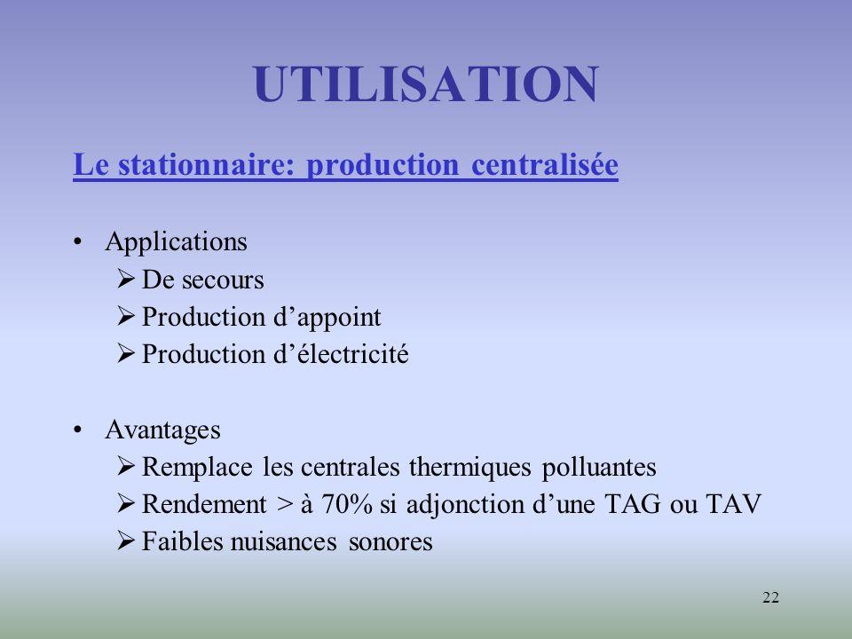 UTILISATION Le stationnaire: production centralisée Applications