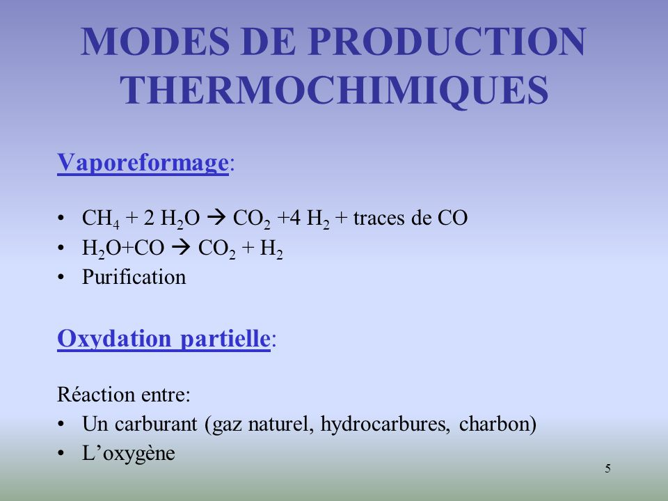 MODES DE PRODUCTION THERMOCHIMIQUES