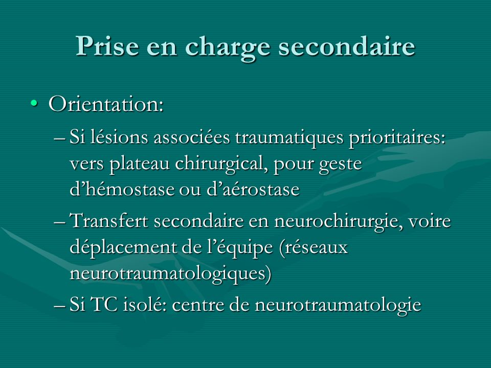 Prise en charge secondaire