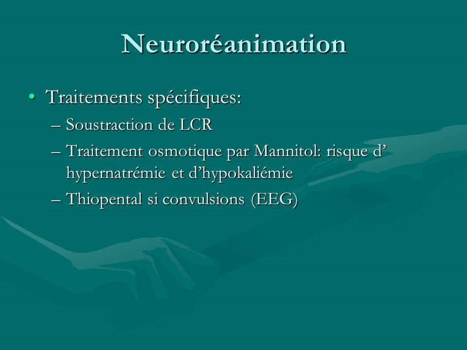 Neuroréanimation Traitements spécifiques: Soustraction de LCR