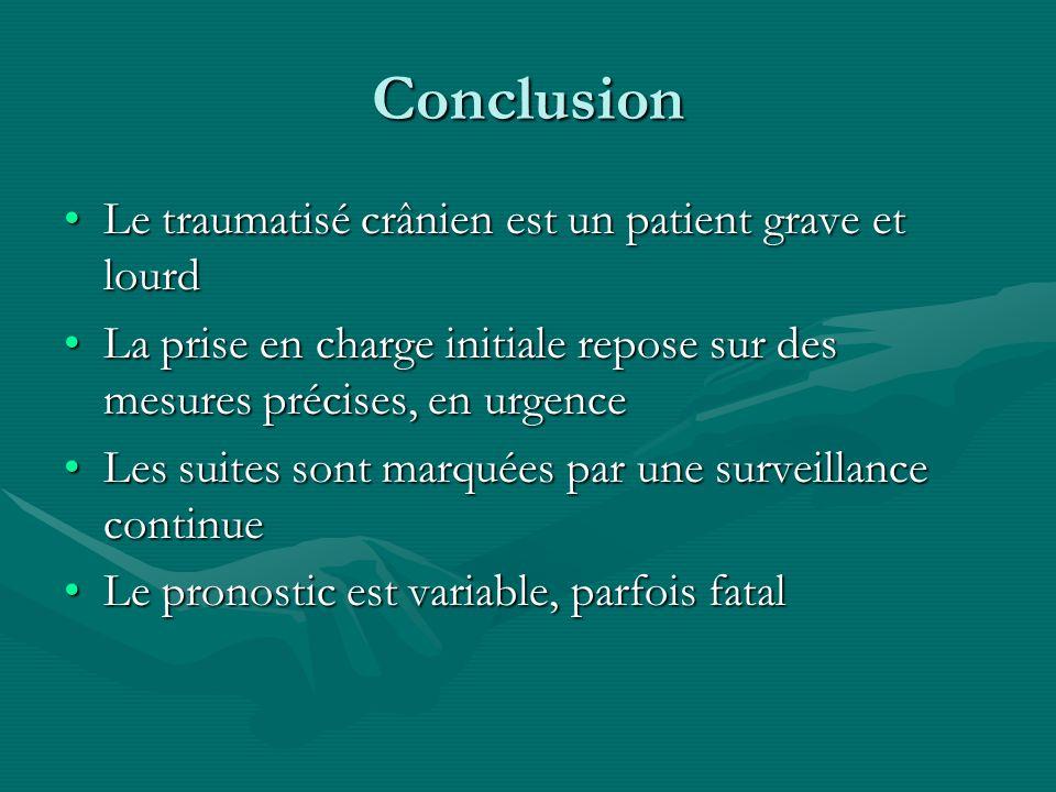 Conclusion Le traumatisé crânien est un patient grave et lourd
