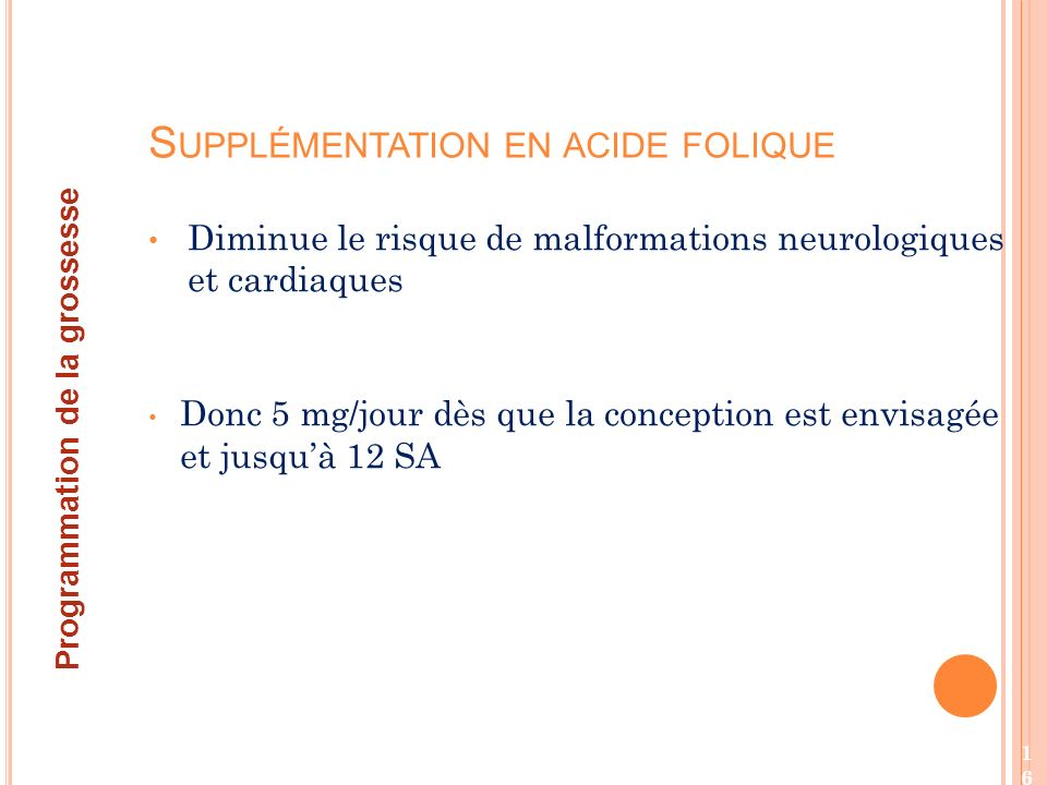 Supplémentation en acide folique