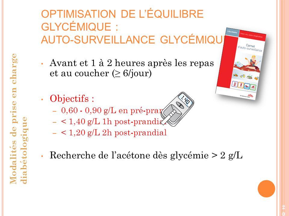 OPTIMISATION DE L'ÉQUILIBRE GLYCÉMIQUE : AUTO-SURVEILLANCE GLYCÉMIQUE