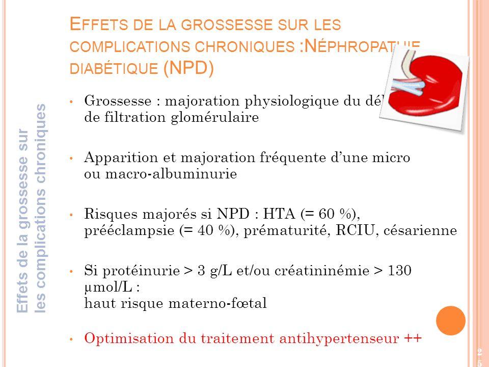 Effets de la grossesse sur les complications chroniques :Néphropathie diabétique (NPD)