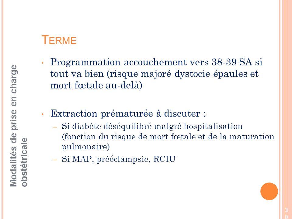 Terme Programmation accouchement vers 38-39 SA si tout va bien (risque majoré dystocie épaules et mort fœtale au-delà)