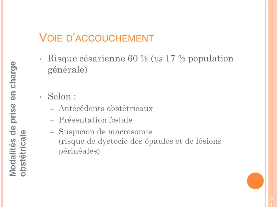 Voie d'accouchement Risque césarienne 60 % (vs 17 % population générale) Selon : Antécédents obstétricaux.