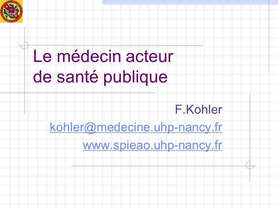 Le médecin acteur de santé publique