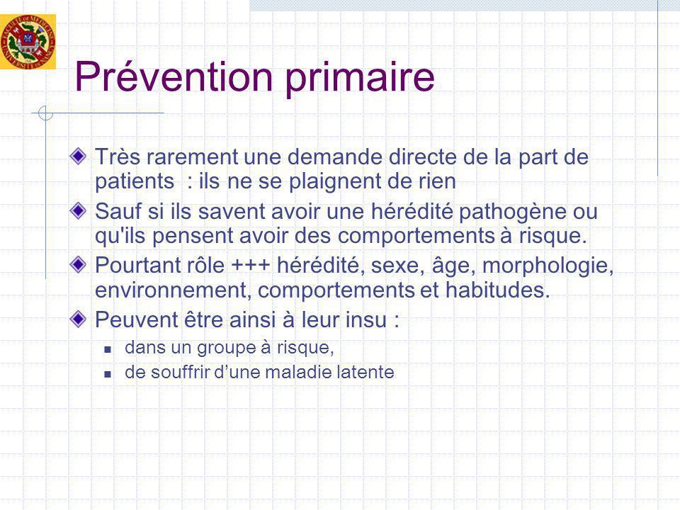 Prévention primaire Très rarement une demande directe de la part de patients : ils ne se plaignent de rien.