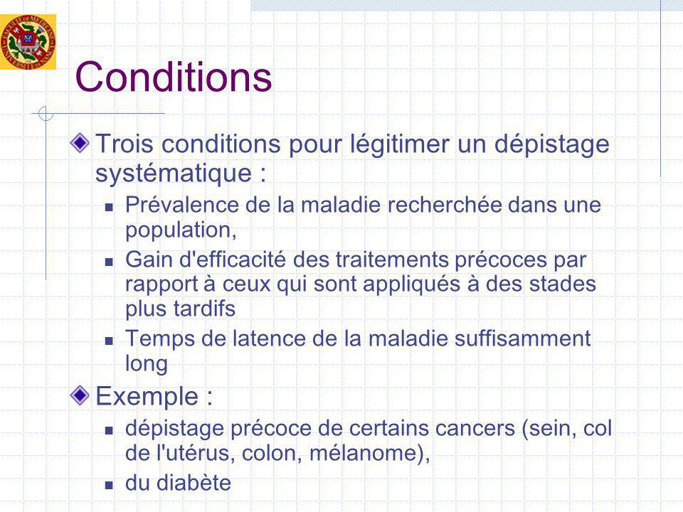 Conditions Trois conditions pour légitimer un dépistage systématique :