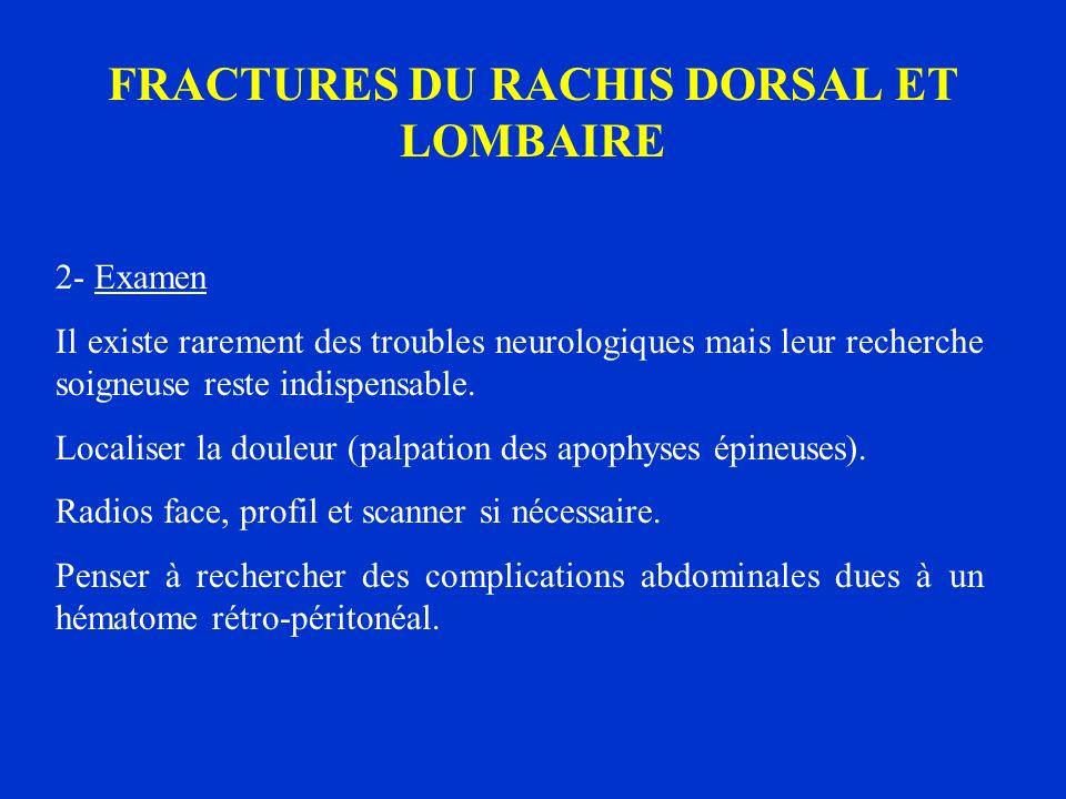 FRACTURES DU RACHIS DORSAL ET LOMBAIRE