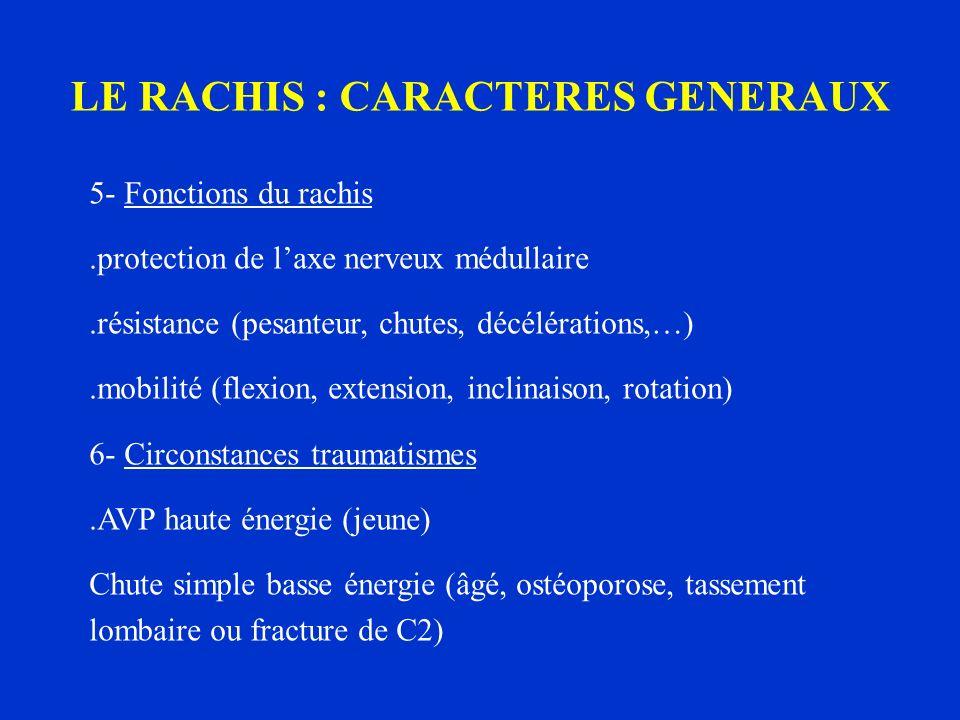 LE RACHIS : CARACTERES GENERAUX