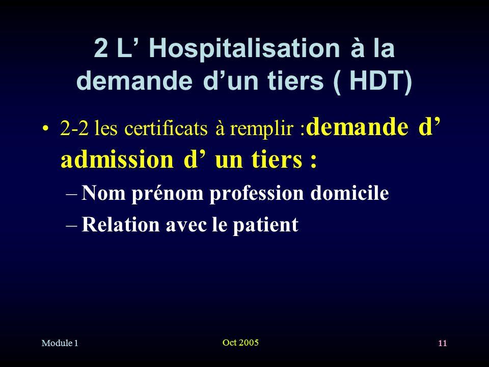 2 L' Hospitalisation à la demande d'un tiers ( HDT)