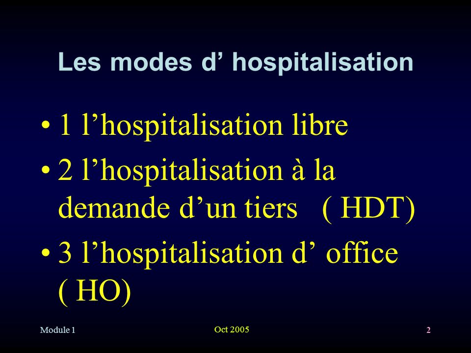 Les modes d' hospitalisation