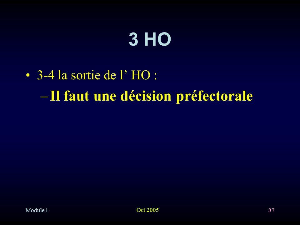 3 HO Il faut une décision préfectorale 3-4 la sortie de l' HO :