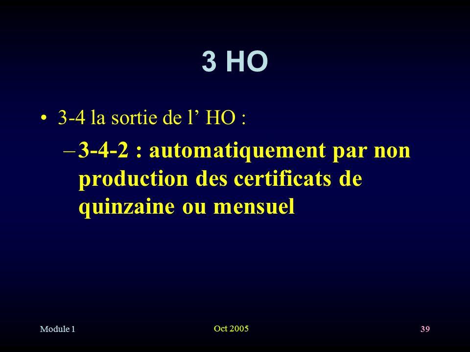 3 HO 3-4 la sortie de l' HO : 3-4-2 : automatiquement par non production des certificats de quinzaine ou mensuel.
