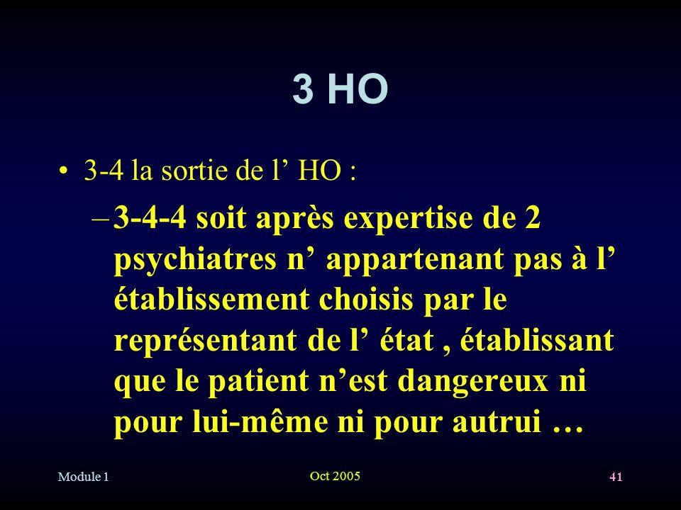 3 HO 3-4 la sortie de l' HO :