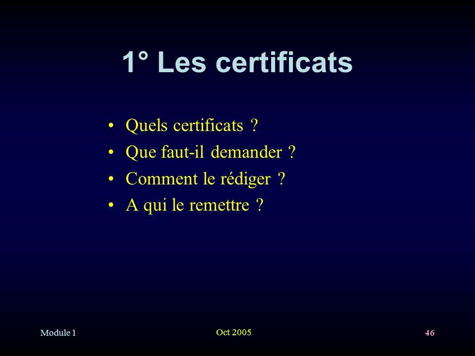 1° Les certificats Quels certificats Que faut-il demander