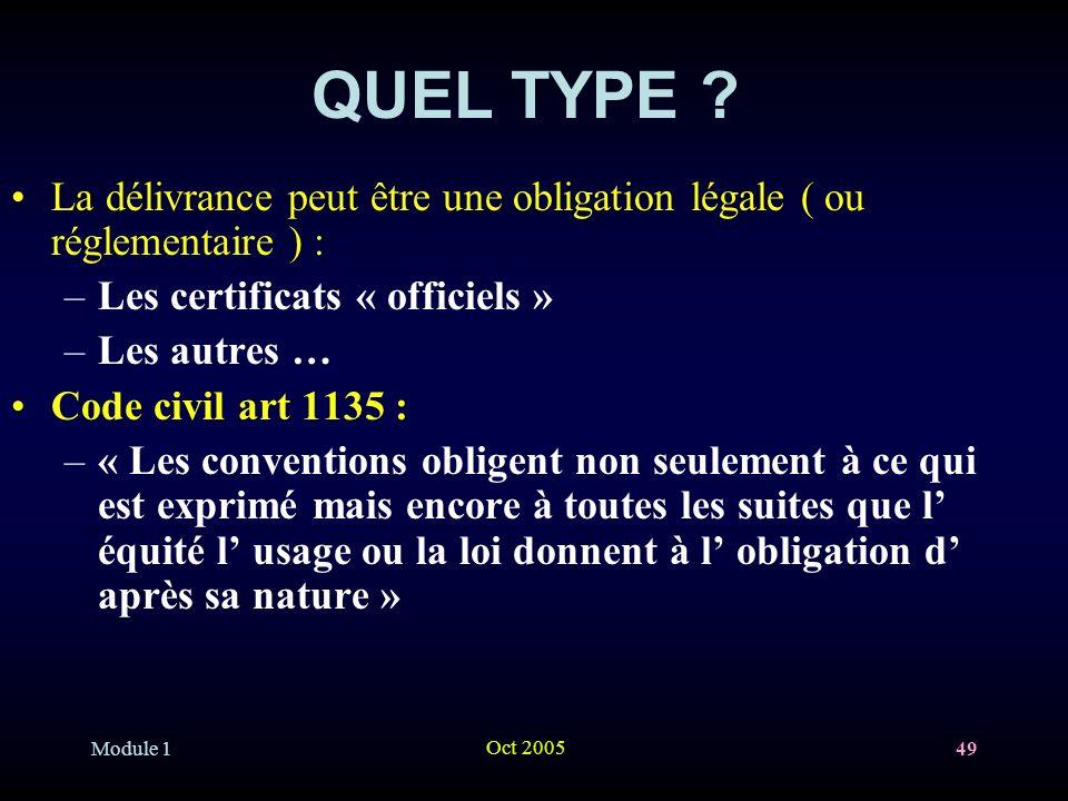 QUEL TYPE La délivrance peut être une obligation légale ( ou réglementaire ) : Les certificats « officiels »