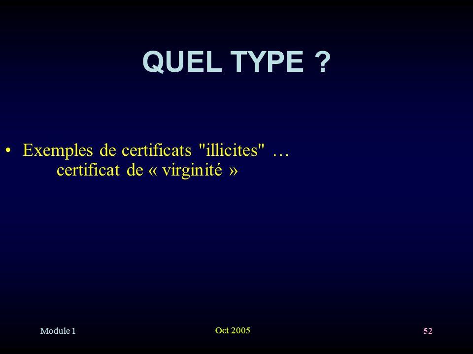 QUEL TYPE Exemples de certificats illicites … certificat de « virginité »