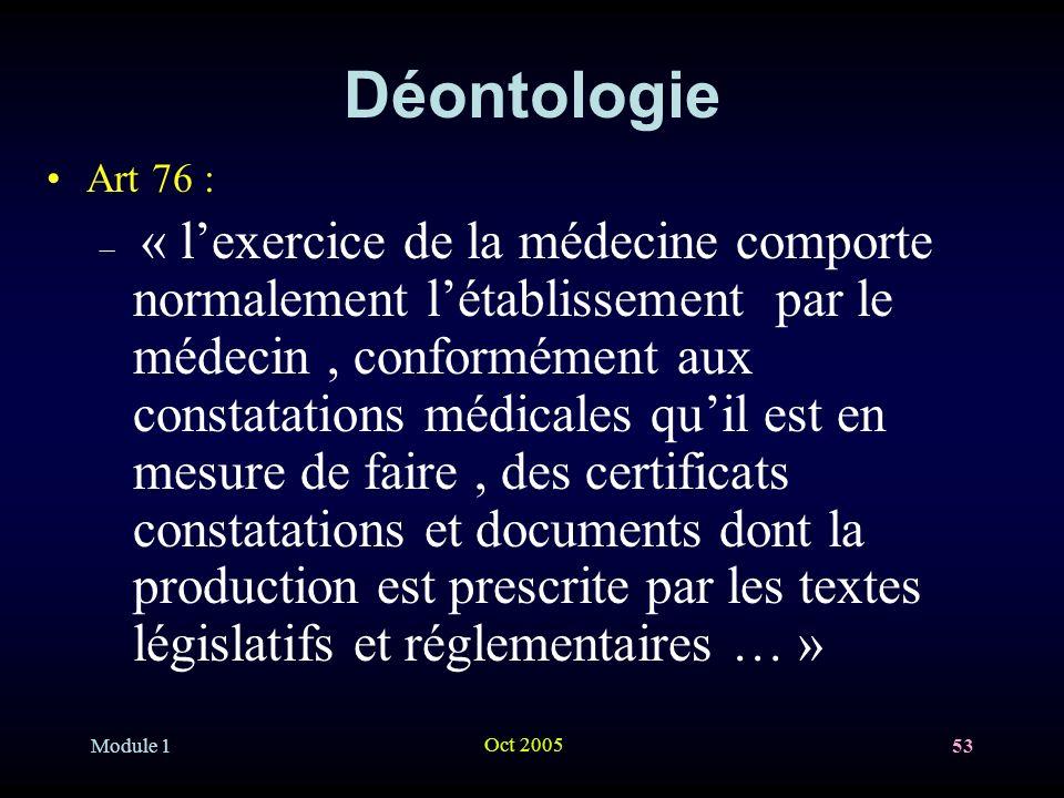Déontologie Art 76 :