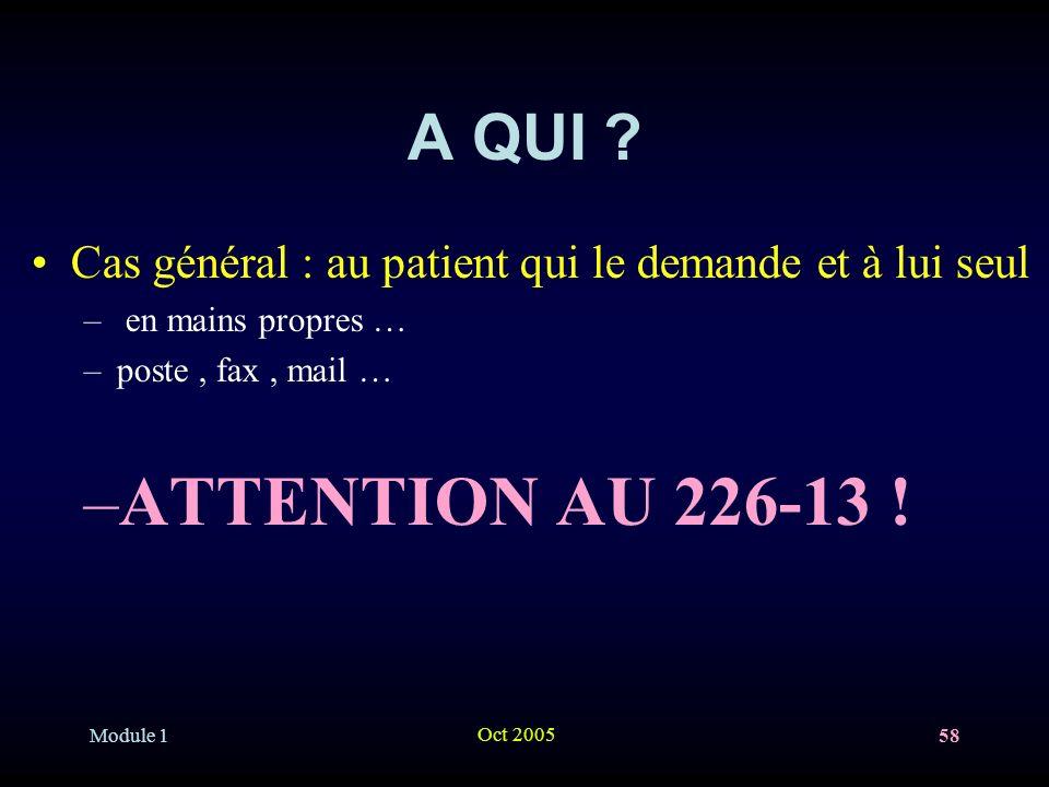 A QUI Cas général : au patient qui le demande et à lui seul. en mains propres … poste , fax , mail …