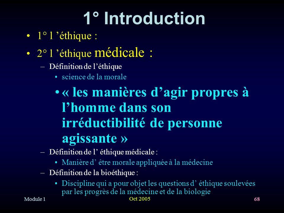 1° Introduction 1° l 'éthique : 2° l 'éthique médicale : Définition de l'éthique. science de la morale.