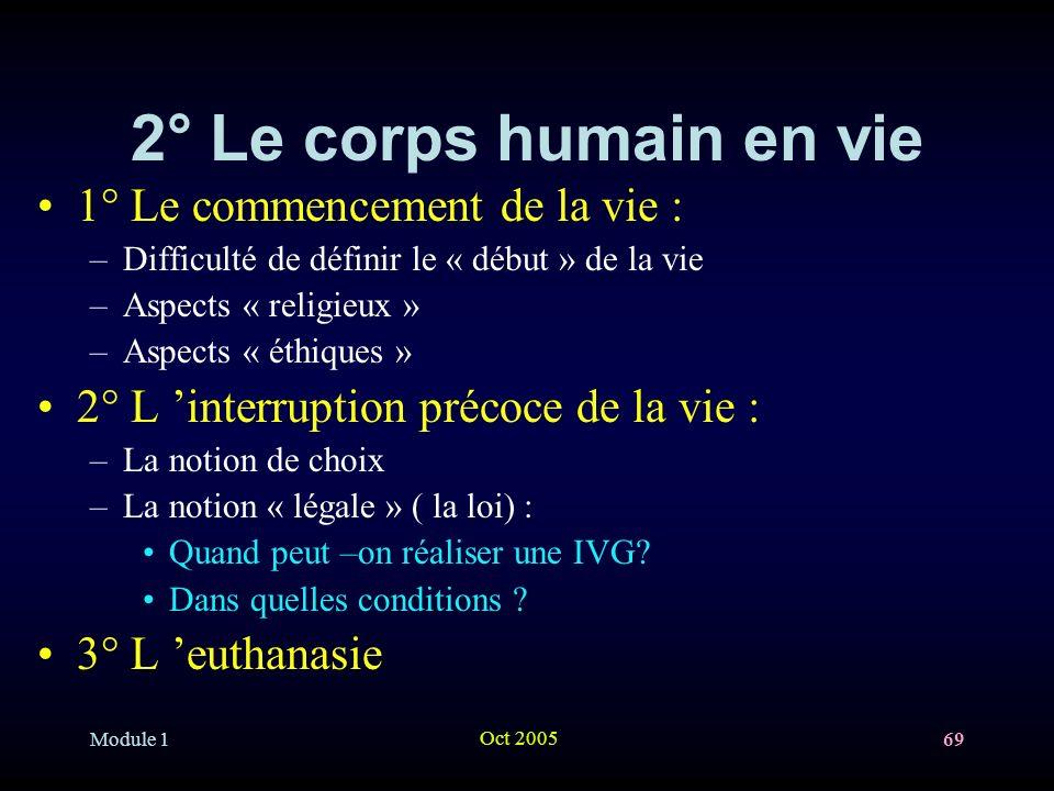 2° Le corps humain en vie 1° Le commencement de la vie :