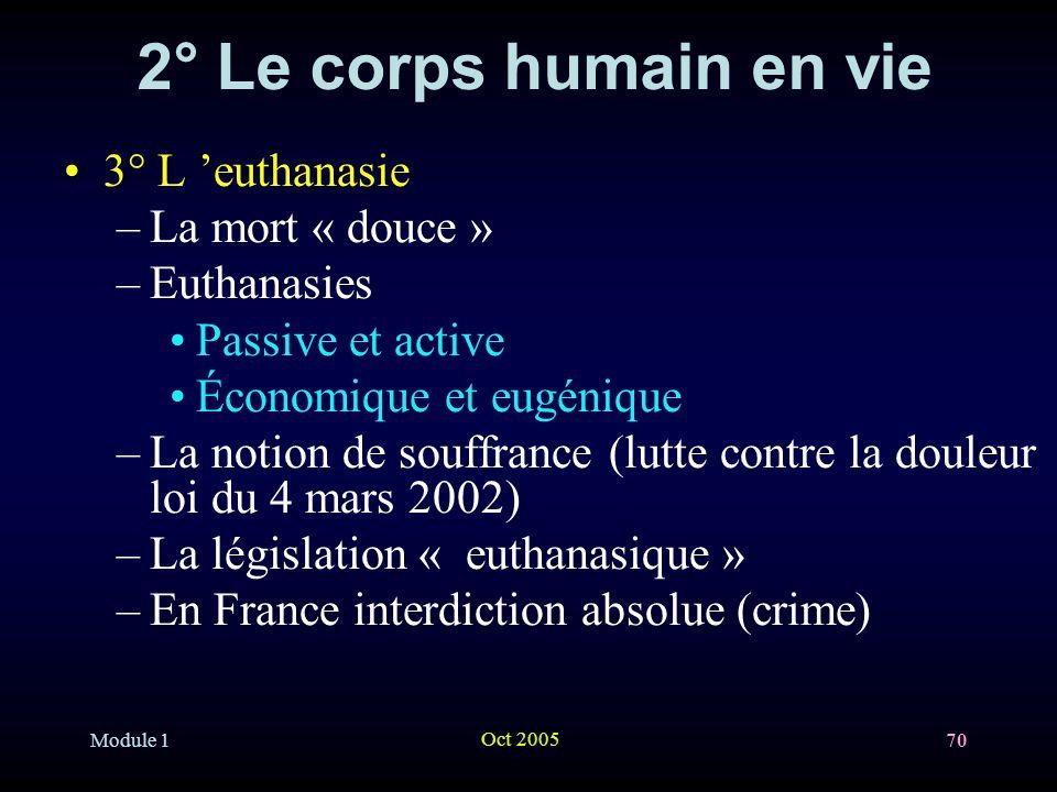 2° Le corps humain en vie 3° L 'euthanasie La mort « douce »