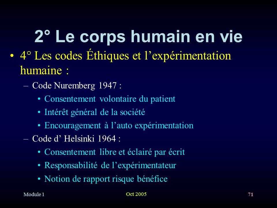 2° Le corps humain en vie 4° Les codes Éthiques et l'expérimentation humaine : Code Nuremberg 1947 :