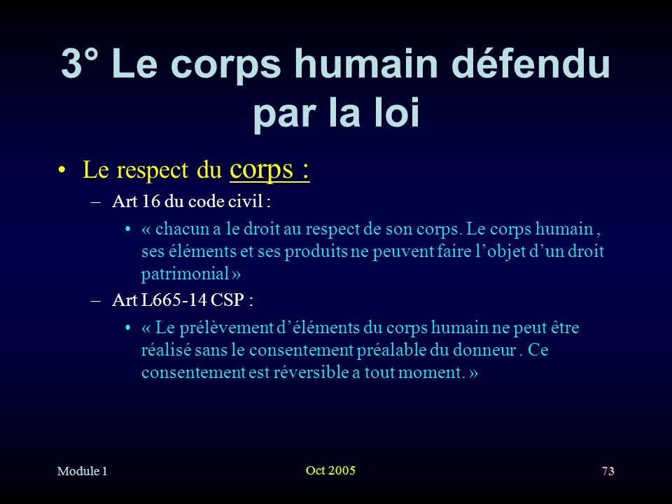 3° Le corps humain défendu par la loi