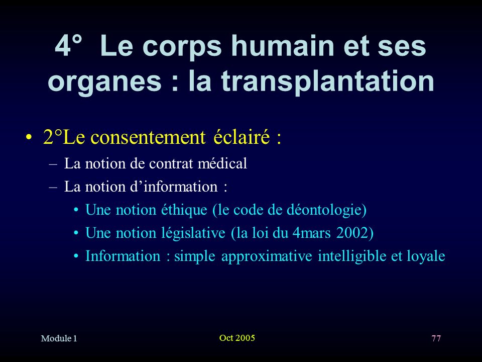4° Le corps humain et ses organes : la transplantation