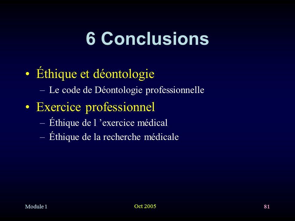 6 Conclusions Éthique et déontologie Exercice professionnel