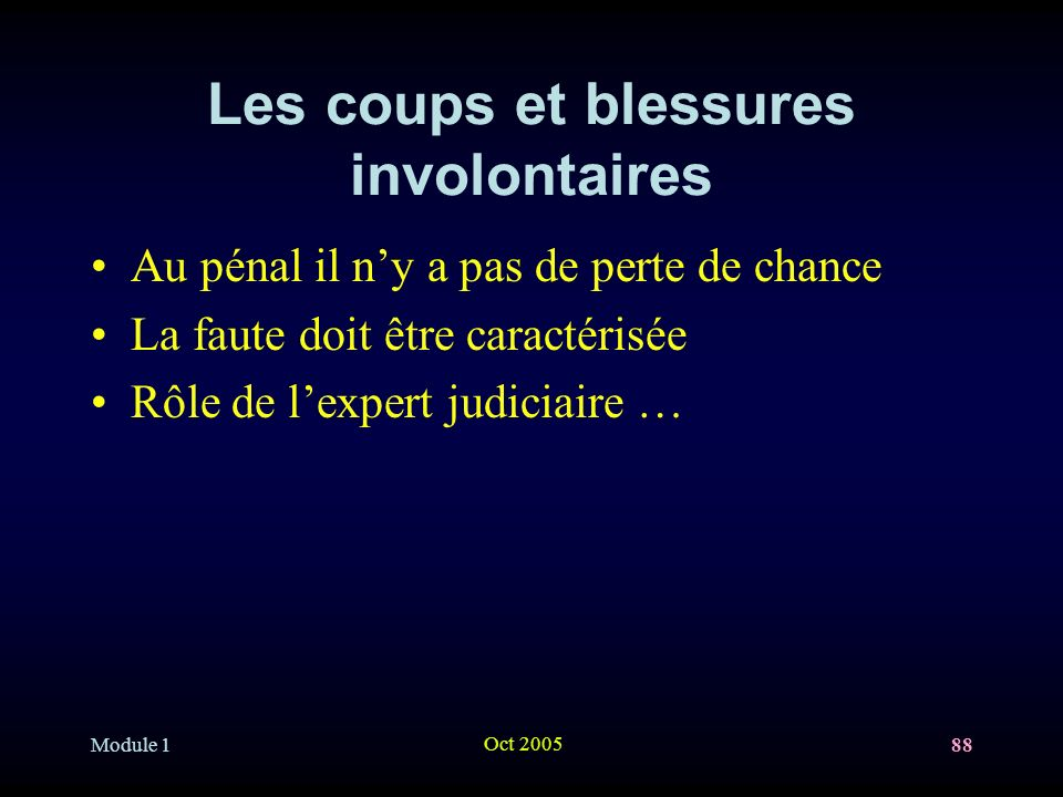 Les coups et blessures involontaires