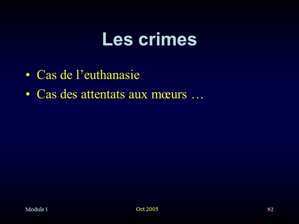 Les crimes Cas de l'euthanasie Cas des attentats aux mœurs … Module 1