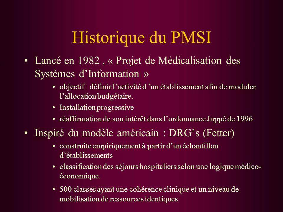 Historique du PMSILancé en 1982 , « Projet de Médicalisation des Systèmes d'Information »