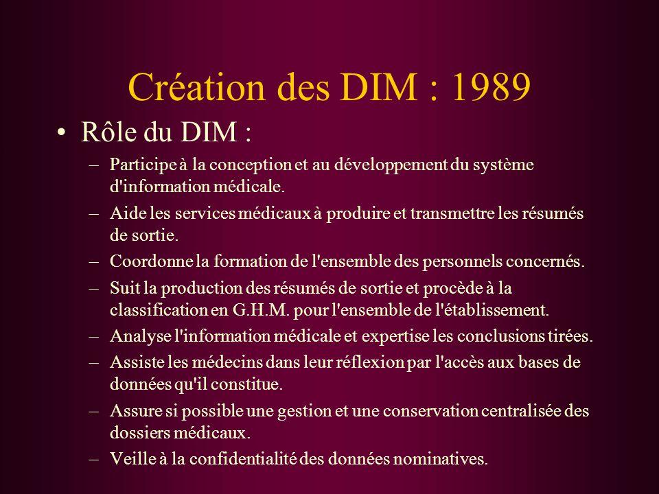 Création des DIM : 1989 Rôle du DIM :