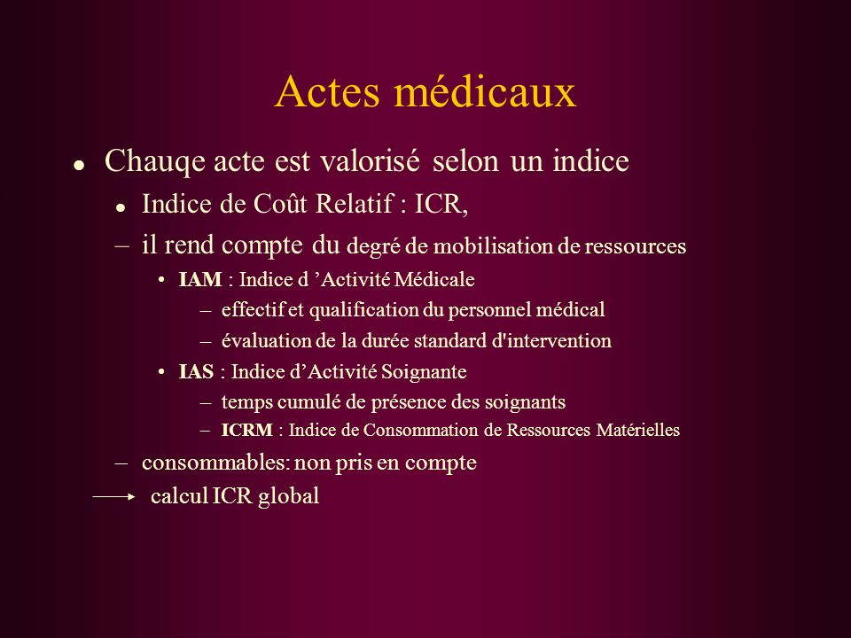 Actes médicaux Chauqe acte est valorisé selon un indice