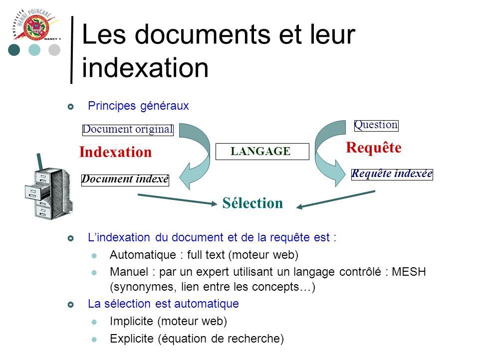 Les documents et leur indexation